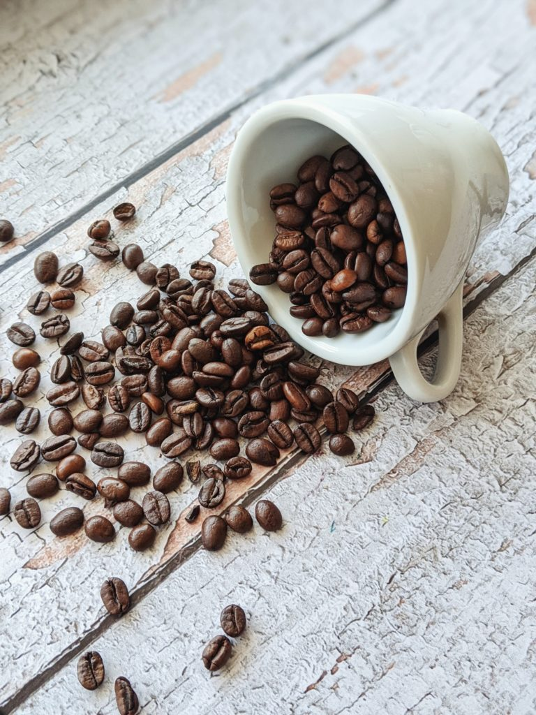 coffee beans spilling out
