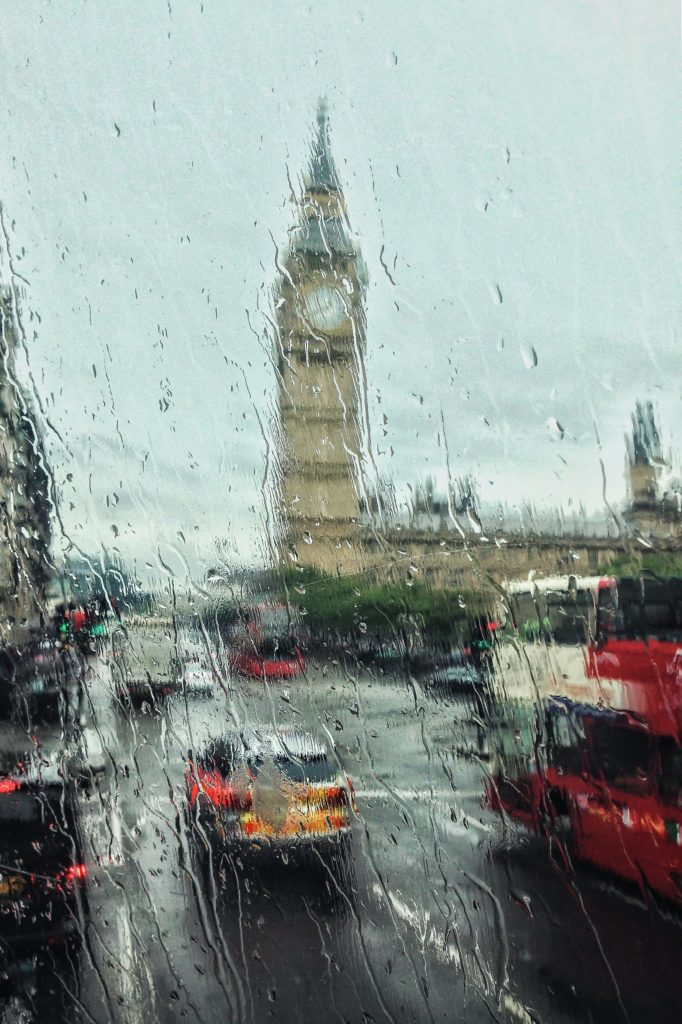 big ben through rainy glass