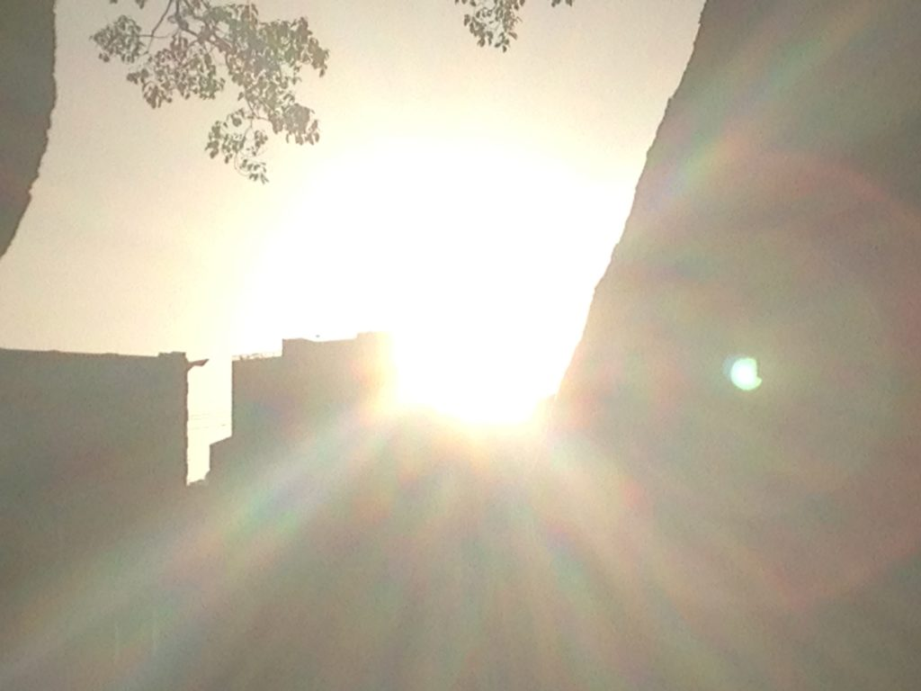 bright sunset w/ lens flare