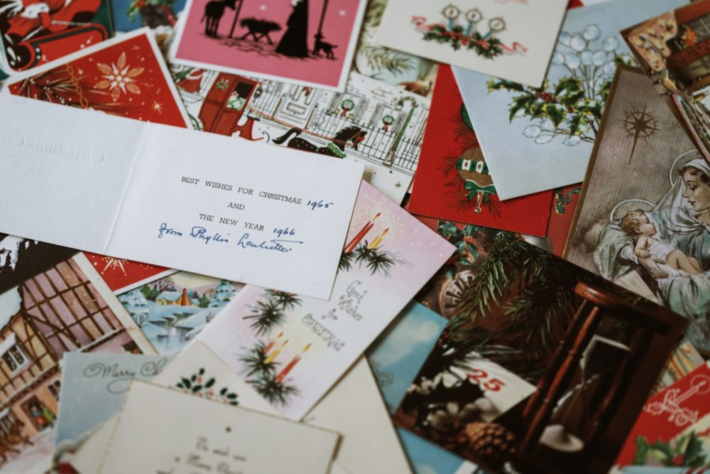 piles of greeting cards