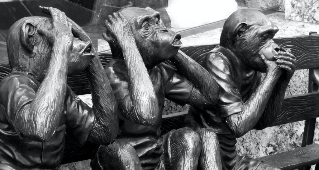 three brass monkeys see, hear, speak no evil