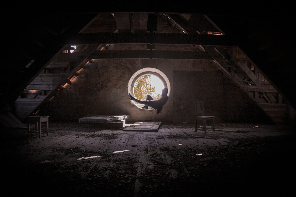 attic with round window
