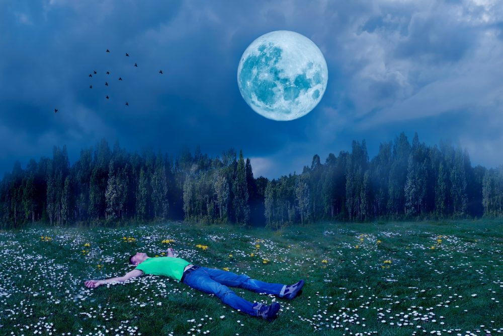 man laying in field under moon