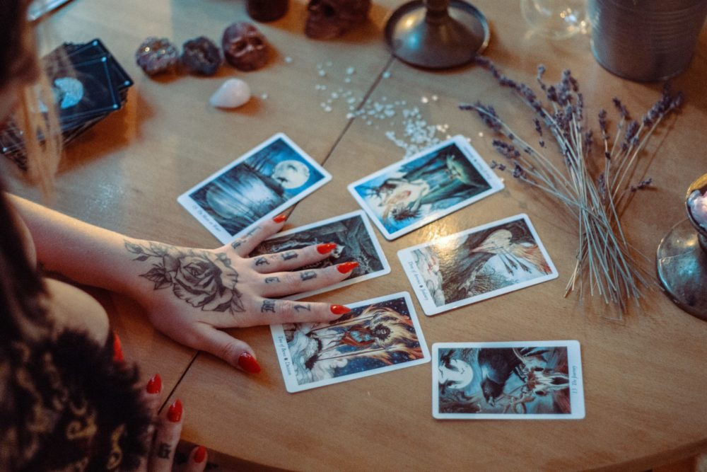 tarot cards spread out