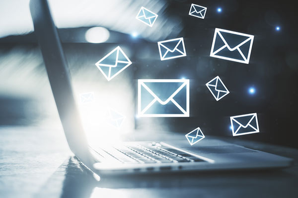 email envelopes coming from computer